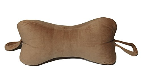 (NeckBone Chiropractic Pillow by Original Bones, Brown Velour Fabric, Cervical Neck Pain Relief with Comfort Adjustment (Use at Home Bed, Office, Travel, Camping))