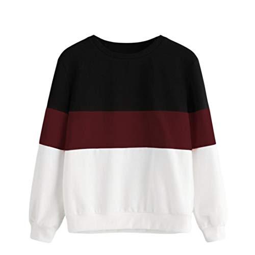 - BCDshop Women's Crewneck Sweatshirt Stripe Patchwork Blouse Top Long Sleeve Shirts (Wine Red, L)