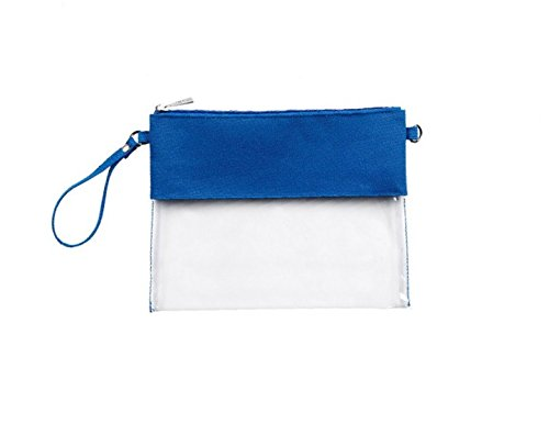 MONOBLANKS Clear Zip Pouch with Detachable Crossbody Adjustable Strap and Wristlet (Blue) by MONOBLANKS