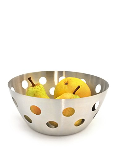 StainlessLUX 76324 Brushed Stainless Steel Fruit Bowl / Bread Basket, Round-shaped with Polka Dot Design - Fine StainlessLUX serveware for your home by StainlessLUX
