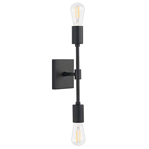Berbella 2 Light Bathroom Wall Sconce | Black Hallway Wall Light with LED Bulbs LL-WL149-5BLK