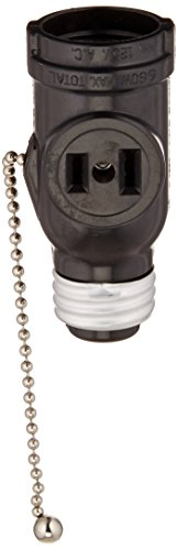 Leviton 1406 660 Watt, 125 Volt, Two Outlet with Pull Chain Socket Adapter, Black ()