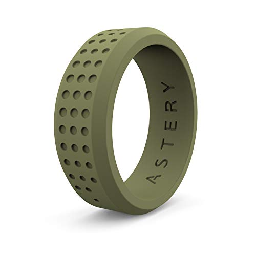 ASTERY Silicone Wedding Ring Band for Men or Women in Black,Navy,White,Olive Green,Hypoallergenic Medical Grade Silicone,Durable,Stretched and Comfortable 100% Guarantee (OLIVE GREEN, 13-13.5(22.3mm))
