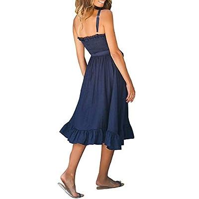 suielve Women's Spaghetti Strap Ruffle Midi Flared Dress Sleeveless Tie Waist Dress, Navy Blue, Large/8-10: Ropa y accesorios