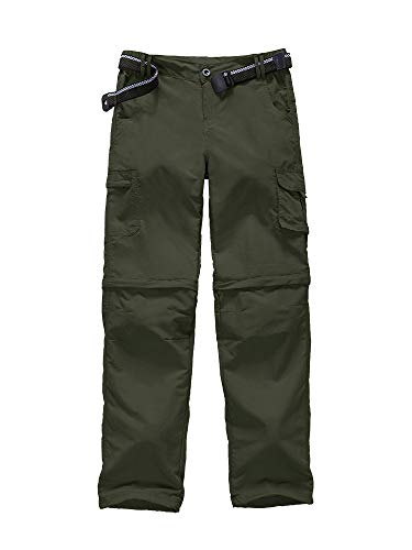 Convertible Green - Kids Boy's Youth Outdoor Quick Dry Convertible Pants, Hiking Camping Fishing Zip Off Trousers #9016-Army Green,XL 18-20