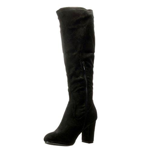 Angkorly - Chaussure Mode Cuissarde cavalier femme Talon haut bloc 8 CM - Noir