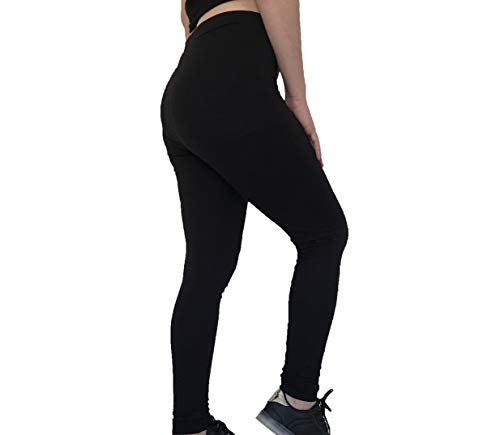 Premium Soft Egyptian Cotton Spandex Jersey Leggings - Yoga Waistband - Regular Plus Size Full Length (Black, 4X-Large)