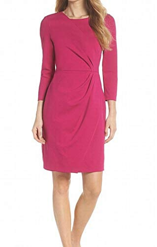 (Eliza J 3/4 Sleeve Ponte Knit Gathered Womens Sheath Dress Pink 12)