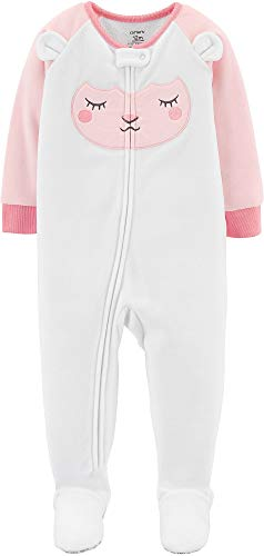 Carter's Baby Girl's 12M-5T One Piece Fleece Pajamas, Lamb, 18 Months