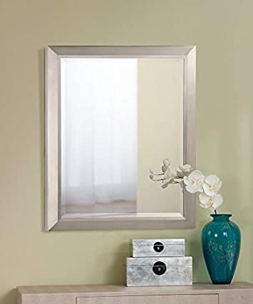 KICHLER Lighting 41011NI Rectangular Wall Mirror Brushed Nickel, 24 W x 30 H,