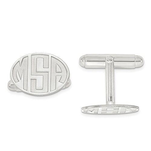 Roy Rose Jewelry Sterling Silver Recessed Letters Oval Monogram Cuff Links - Personalized Custom Made (Personalized Oval Silver Cufflinks Sterling)