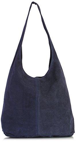 LIATALIA - Large sac à main style cabas/hobo/slouch pour femme en suède italienporté épaule - 'Shay'(Rouge sombre) Bleu Marine