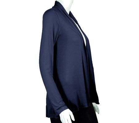 Agiato Women's Modern Draped Cardigan azul marino
