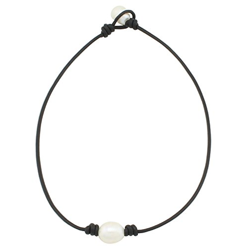 White Rice Freshwater Pearls Necklace (One Pearl Black Leather Necklace - Real Leather Wrap Around Costume Rope Choker Necklace With 2.0mm Black Genuine Leather Cord and AA Grade White 12mm Rice Pearl Necklace Jewelry 14 Inch)