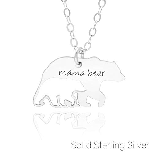 (MAMA BEAR NECKLACE - PURE Sterling Silver - A Premium Made Necklace For Moms and New Moms)