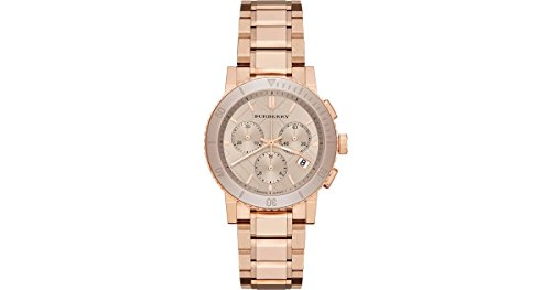 SALE! Authentic Burberry The City LUXURY Women 38mm Round Chronograph Watch Rose Gold Band Nude Sunray Date Dial BU9703