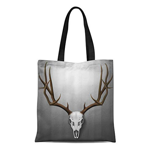 Semtomn Canvas Tote Bag Elk Realistic Deer Skull and Antlers Hanging on Wall Durable Reusable Shopping Shoulder Grocery Bag