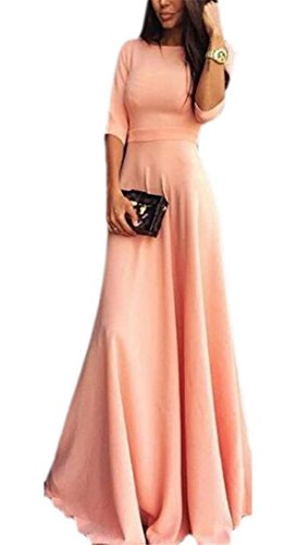 Ainr Womens Casual Solide 3/4 Manches Cocktail Balançoire Maxi Rose Robe Longue