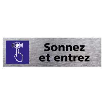 Adh/ésif Autocollant Sticker aspect Aluminium Bross/é Sticker de Porte Sortie Dimensions 170 x 50 mm