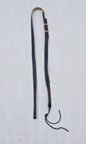 vintage-guitar-strap-1-wide-black-solid-leather-with-chrome-adjustment-buckle-heavy-duty-tie-lace-in