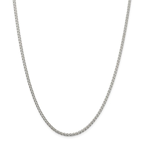 925 Sterling Silver 2.5mm Round Spiga Chain Necklace 20 Inch Pendant Charm Wheat Fine Jewelry Gifts For Women For Her ()