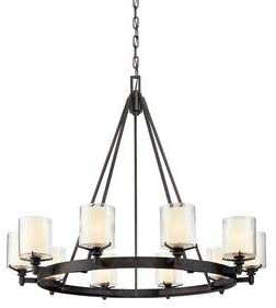 Troy Lighting F1710FR Arcadia – Ten Light Chandelier, French Iron Finish with Clear Ribbed Provence Glass