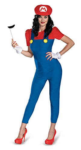 Mario Halloween Costume Women (Disguise Women's Nintendo Super Mario Bros.Mario Female Deluxe Costume, Blue/Red,)