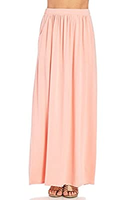 Pastel by Vivienne Women's Maxi Skirt with Elastic Waistband and Pockets