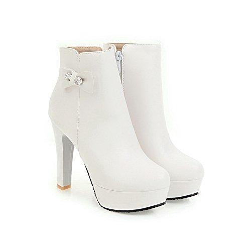 AdeeSu Womens Chunky Heels Platform Round-Toe Leather Boots SXC02621 White dYw7tHU