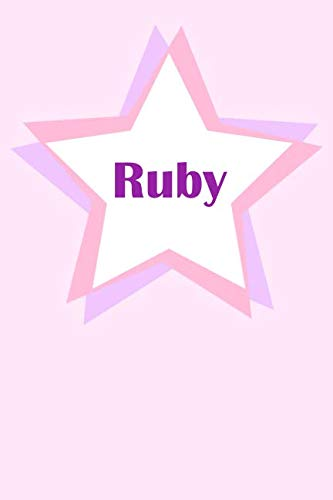 Ruby: First Name Personalized Notebook. College Ruled Journal. Pastel Pink Writing Diary with Stars Pattern for Girls and Women