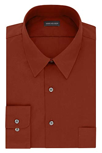 Van Heusen Men's Dress Shirt Fitted Poplin Solid, Persimmon, 15.5