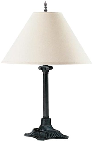 Cal Lighting LA-432-1 Table Lamp with Beige Fabric Shades, Rust Finish