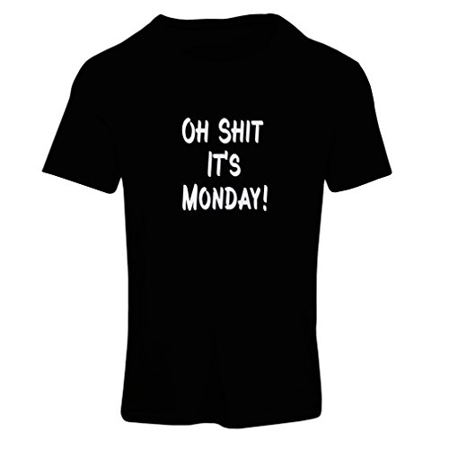 N4068F Camiseta mujer Oh shit it''s Monday gift' Negro Fluorescent