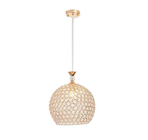 ATC Chandelier Fixture Single Head Golden Globe Pendant Light with K9 Crystal Adjustable Cord Indoor Dining Room Lighting