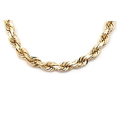 - 31IaUpTDu8L - 10K Gold 7.0MM Thick Diamond Cut Rope Chain Necklace -Lobster Lock Closure
