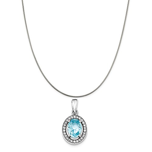 Sterling Silver Rhodium-Plated With Light Blue and White Synthetic CZ Oval Pendant on a Sterling Silver Snake Chain Necklace, 18