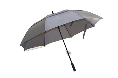 Windproof Umbrella Nylon (Play Covered Huge Golf Umbrella 68 inch Windproof Fiberglass Shaft Gray Big Umbrella)