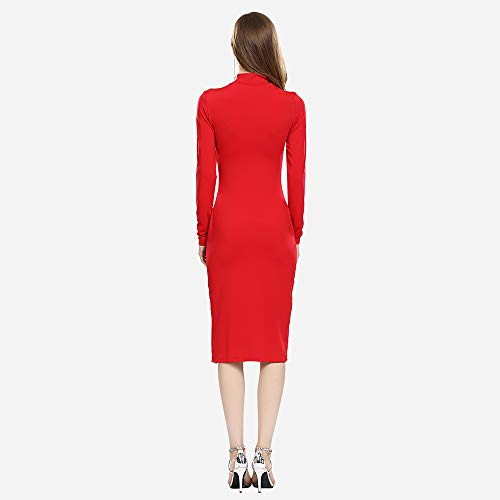 a7ef8f2d54f MQGIOEA Women s Sexy Solid High Neck Long Sleeve Bodycon Midi Cocktail Dress  with Side Split