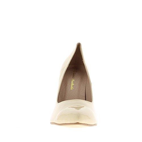 Escarpins femme grande taille beiges vernis à talon de 12cm bouts pointus