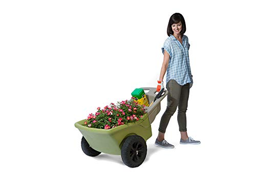 Simplay3 Easy Haul Plastic Wheelbarrow w/Garden Tool Storage Tray, 4 Cubic ft. Capacity, 2 Wheels - Green ()
