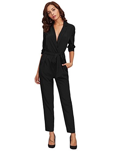 DIDK Women's Wrap and Tie Detail Tailored Jumpsuit Black M (Wrap Jumpsuit)