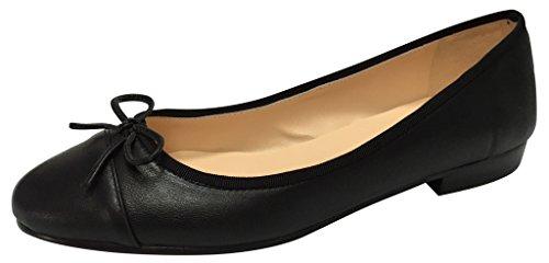 Lambskin Black Matte/Two Tone Ballet Flats (Tone Ballerina)