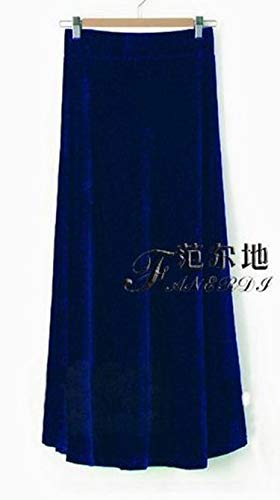 2018 XS-10XL Fashion Long Maxi A-line Skirts for Women Elastic Waist Winter Customzied Velour Pleated Velvet Skirt,Sky Blue,L