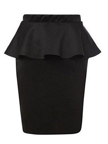 Fashion4Life! Womens Flared Waist Peplum Frill Midi Bodycon Pencil Skirts
