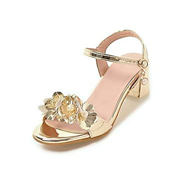 NVXZD Mujer-Tacón Robusto-Confort Zapatos de niña de las flores Talones diminutas para