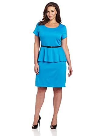 Star Vixen Women's Plus-Size Short Sleeve Belted Ponte Peplum Dress, Turquoise, 1X