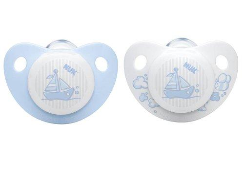 NUK Silikon Beruhigungssauger (Schnuller) Baby Blue TRENDLINE ohne Ring, Größe 1 (0-6 Monate), BPA-frei, 2 Stück