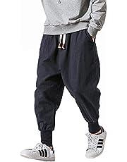 Harem Pants For Men,2021 New Mens Baggy Joggers Pants with Multi-Pocket