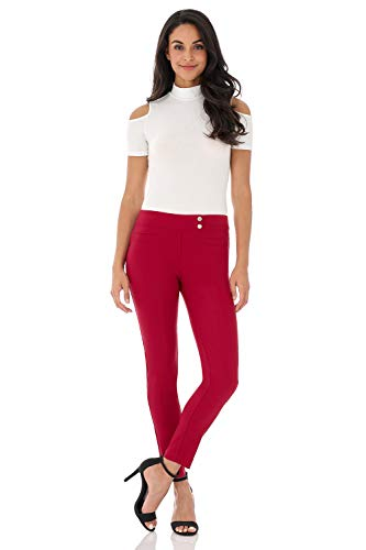 (Rekucci Women's Ease in to Comfort Slim Ankle Pant with Snaps (4,Red))