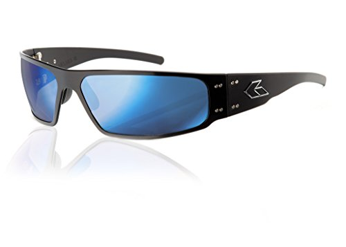 Gatorz Magnum Sunglasses, Metal Aluminum Frame, Military Tactical Style, Made in USA - Black Sunglasses Non-Polarized Smoked/Blue Mirror Lens